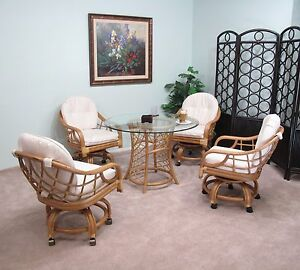 Honey Newton Rattan Caster Chair And Table 5 Piece Dining Set Assembled In U