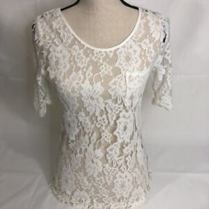 BB-Dakota-Womens-Sheer-Lace-Blouse-Ivory-Floral-3-4-Sleeve-Scoop-Neck-Top-S