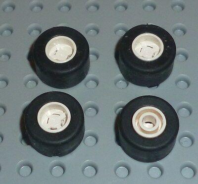 Hole Round W//Tyres WHITE x4 Slicks LEGO x 9mm 8mm D 30027ac01 TW215 WHEEL