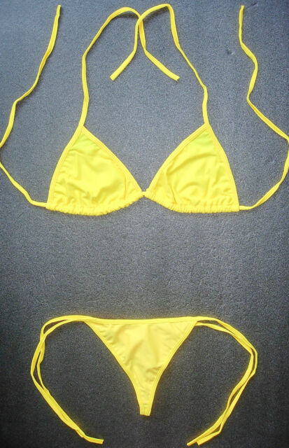 f268f6119ab BRIGHT NEON YELLOW G-STRING BIKINI Sexy Swimming Costume Beach Holiday Wear