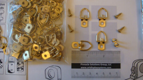 """50 BRASS PLATED TRIANGLE HANGERS 1/"""" x 5//8/"""" FRAMING CRAFT WOODWORKING SAMPLES"""