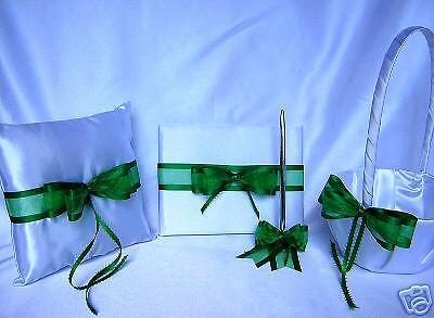 Emerald Green Flower Girl Basket Ring Bearer Pillow Guest Book Pen Set Wedding