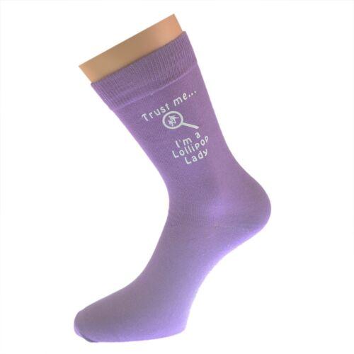 Trust Me I/'m a Lollipop Lady Printed on Purple Socks Birthday Present