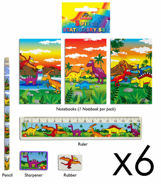 6 Dinosaur Stationery Sets - Toy Loot/Party Bag Fillers Wedding/Kids