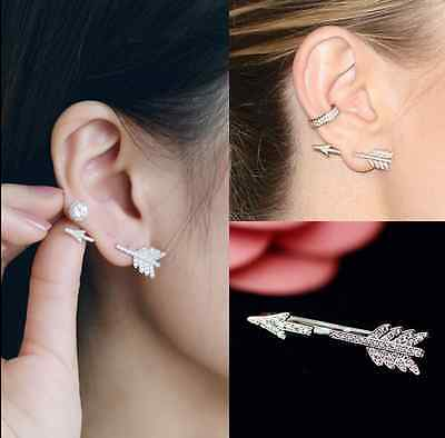 1PC Bow Arrow Crystal Ear Stud Women's Fashion Ear Stud Earrings Jewelry Gift