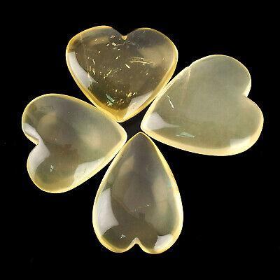 8 Pcs Natural Lemon Quartz Heart Beautiful Untreated Cabochon Gems 21mm 25mm