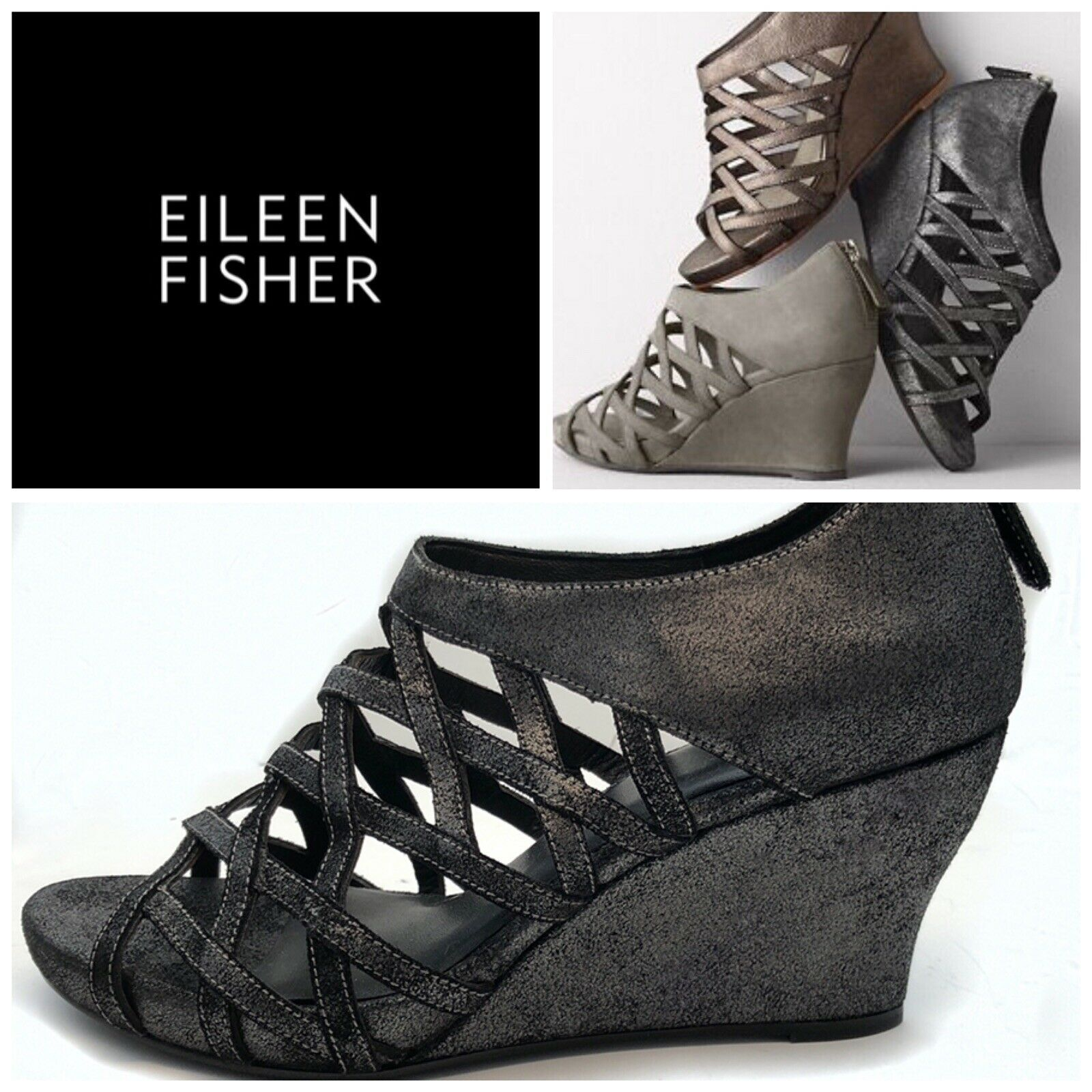 Nueva Eileen Fisher Jaula Con Tiras Cuero Sandalia de cuña Metálico gris Plomo Gamuza 8 M
