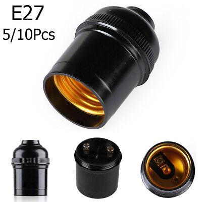 1-10Pcs E27 4A Light Bulb Lamp Holder Pendant Screw Cap Socket Vintage Black UK