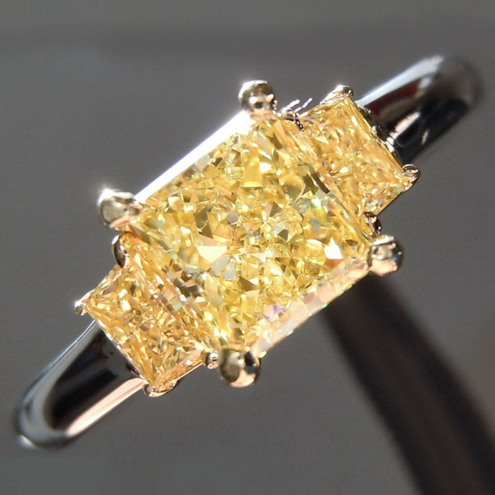 Lab Created Diamond 1.40Ct Radiant Cut 14K White gold Size 6