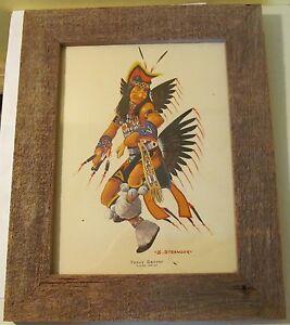 Plains-Indian-Fancy-Dancer-S-Stranger-1970-Print-with-Rustic-Wooden-Frame