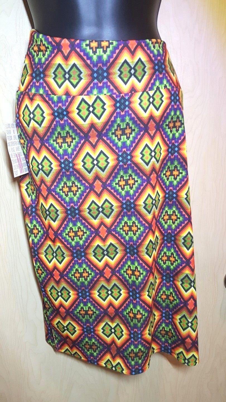 NWT LuLaRoe Cassie Skirt M Multi Kaleidoscope Diamond Aztec Print Yellow Purple