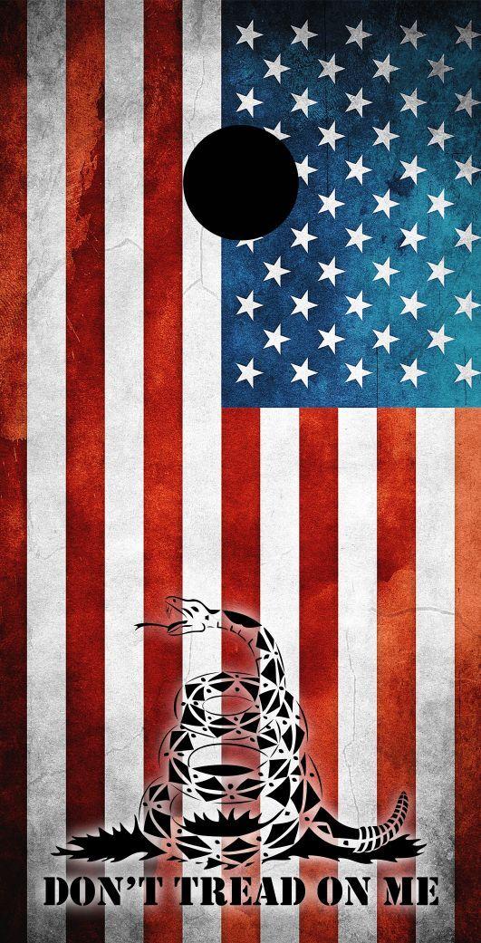 Don't Tread on Me (USA) Themed Cornhole Board Prints   Wraps   Corn Hole