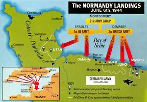 New-Map-Postcard-WW2-World-War-2-The-Normandy-Landings-June-6th-1944