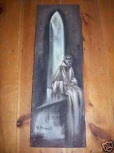Brother-Matthew-OSF-Signed-painting-barnwood-Monk-Friar-Original-US