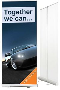 Banner Stand 33 x 79in with free color print on 9oz Fabric Poly
