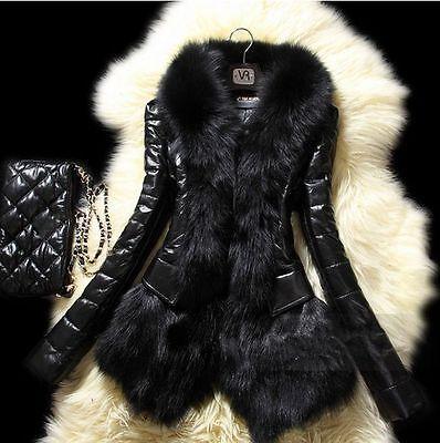 Women Warm Long Faux Fur Collar Coat Leather Jacket Slim Trench Outwear Overcoat