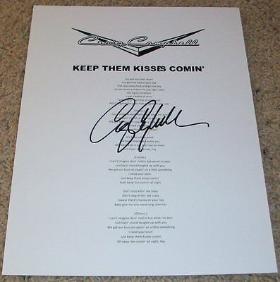 Dedicated Craig Campbell Signed Autograph Keep Them Kisses Comin' Lyric Sheet W/proof Making Things Convenient For Customers Music Country