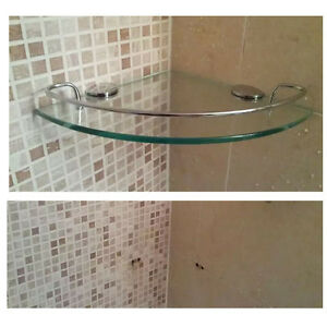 Wall Mount Tempered Glass Corner Shelf, Corner Shelves Bathroom Shower
