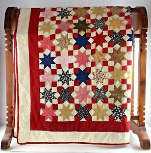 Red-Star-Queen-Quilt-Blanket-Bed-Spread-Patchwork-75-x-75-Amish-Decor-Gift-Vtg