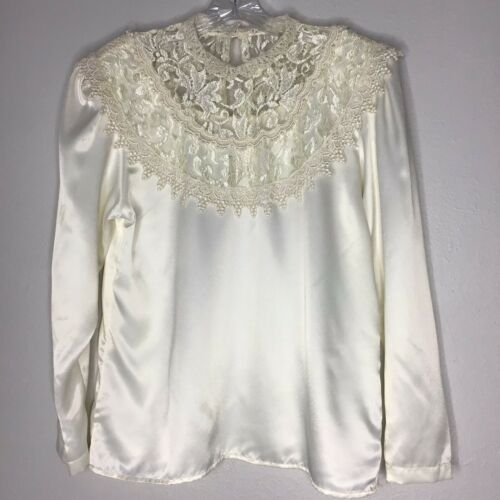 Vtg Lace Collar High Neck Prarie Blouse Cottage Co