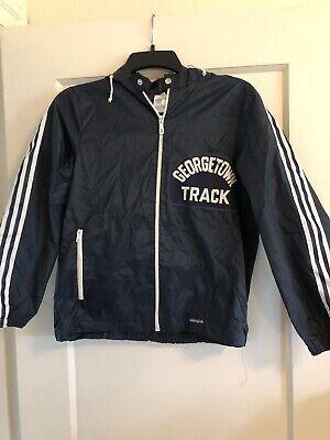 Vintage Adidas Georgetown Hoyas Track Jacket Windbreaker XS Navy Hood | eBay