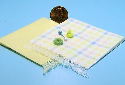 Rattle & Teether Ch602y Chills And Pains Rubber Ducky Dollhouse Miniature Yellow Baby Blankets