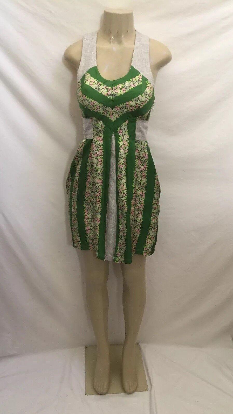 Anthropologie Lauren Moffatt Größe 2 Floral Print 100% Silk Tie Waist Dress