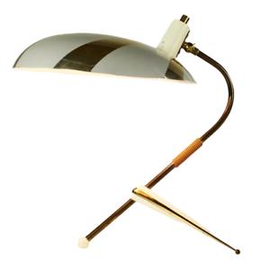 50er Krähenfuß Lampe Tripod Strahlenschirm Lese Tisch Leuchte Messing Vintage