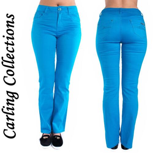 Da Donna Slim Fit Donna Colorati Jeans Pantaloni Blu Denim Taglie 6 8 10 12 14 16