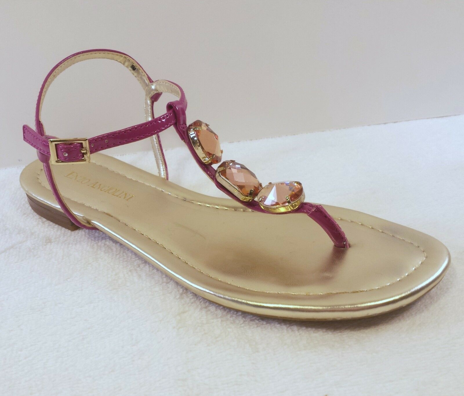 Enzo Angiolini Womens Size 8 M Sandals Metallic gold Jeweled Party Wedding