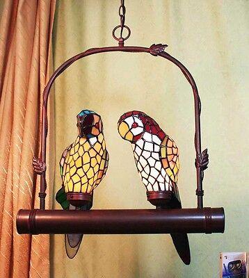 Tiffany Büro 2 Ara Papagei Tiffanylampe Decken Schaukel Lampe Hängelampe GN226