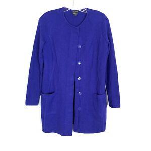 Talbots-Women-039-s-size-P-XS-blue-Merino-wool-duster-button-up-cardigan-sweater