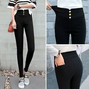 874a1050bc0 Image is loading Womens-Black-High-Waist-Slim-Fitted-Stretch-Pants-