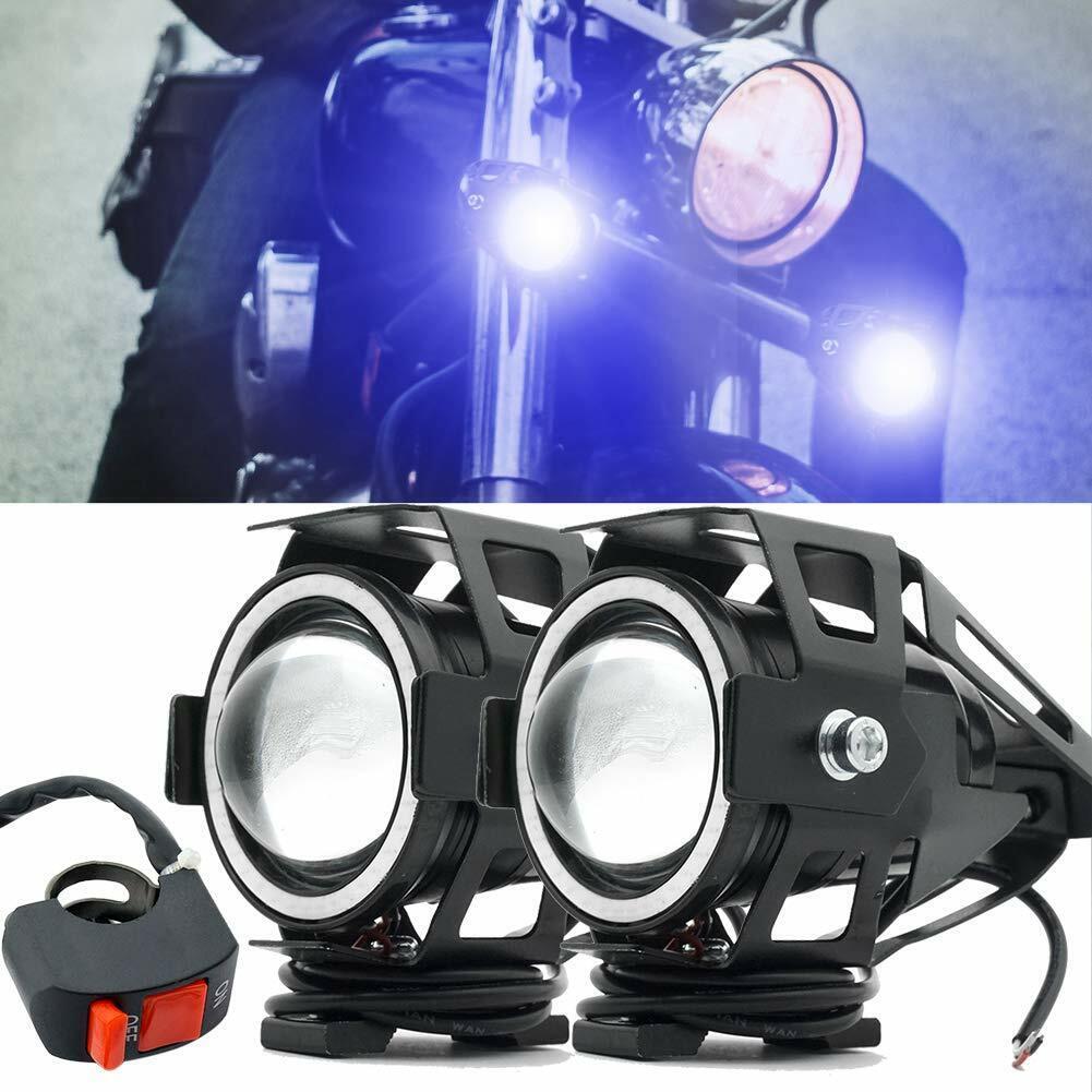 2Pcs White LED Motorcycle Handlebar Spotlight Headlight Fog Lamp Driving Light