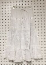 100% Cotton Hippie Boho Lace Trim Embroidered Tier Peasant Sweep Skirts S-XL NWT