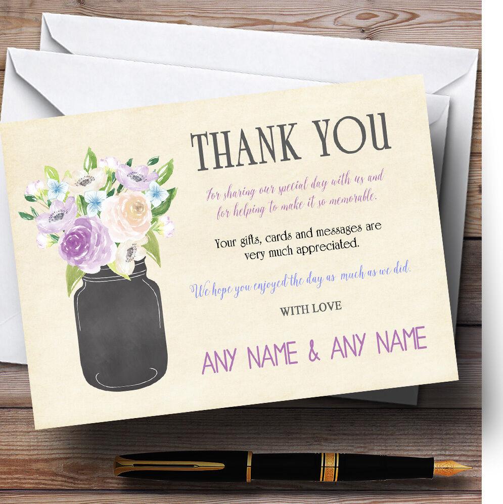Lilac & Blau Flower Vase Vintage Personalised Wedding Thank You Cards