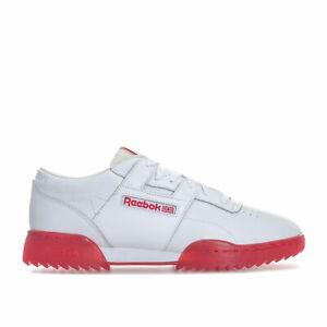 Homme-Reebok-Classics-Homme-Entrainement-Clean-Ripple-Ice-Baskets-en-Blanc-Rouge-UK