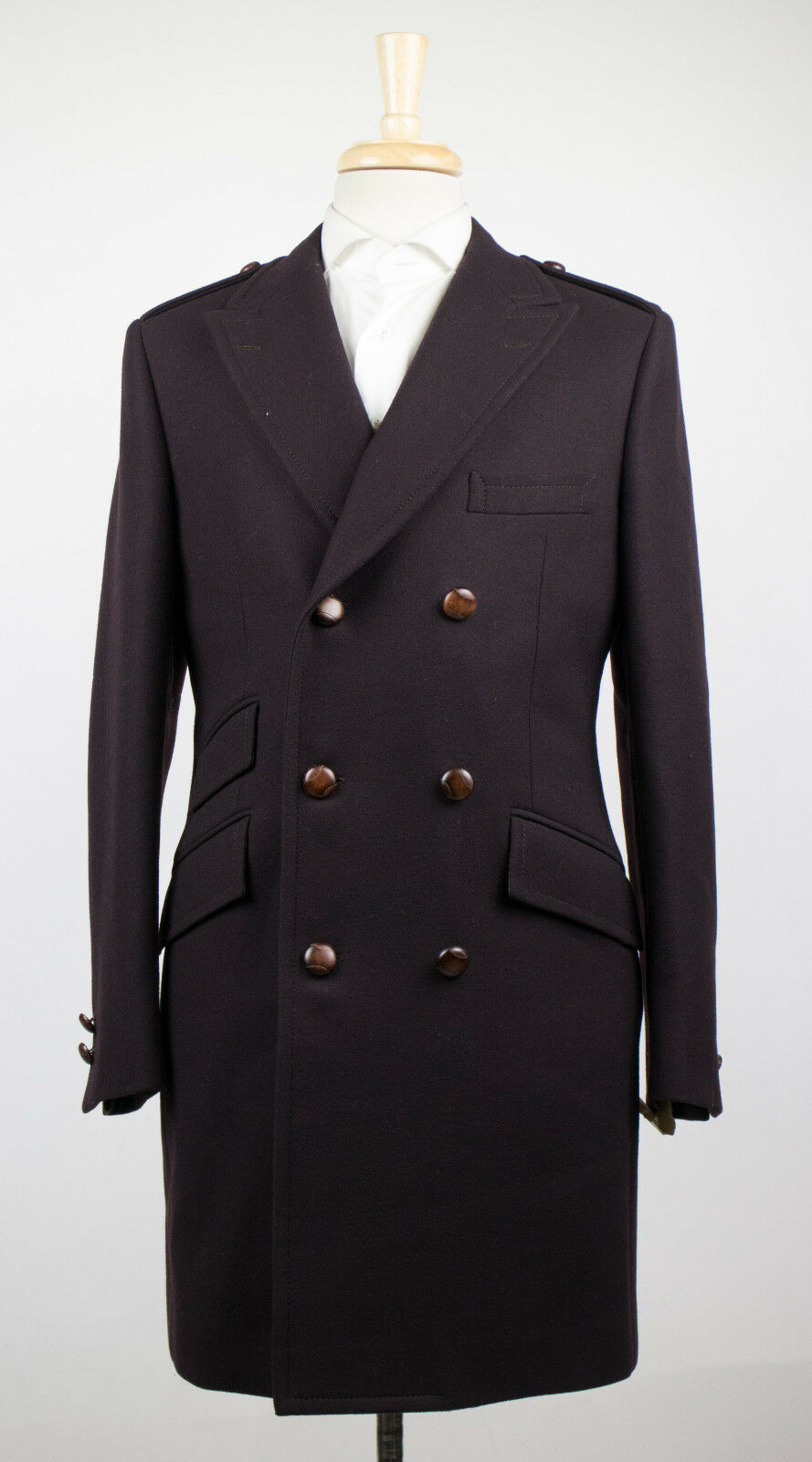 New D'AVENZA Dark Braun Wool 3/4 Length Pea Coat Größe 53/43 R 3795