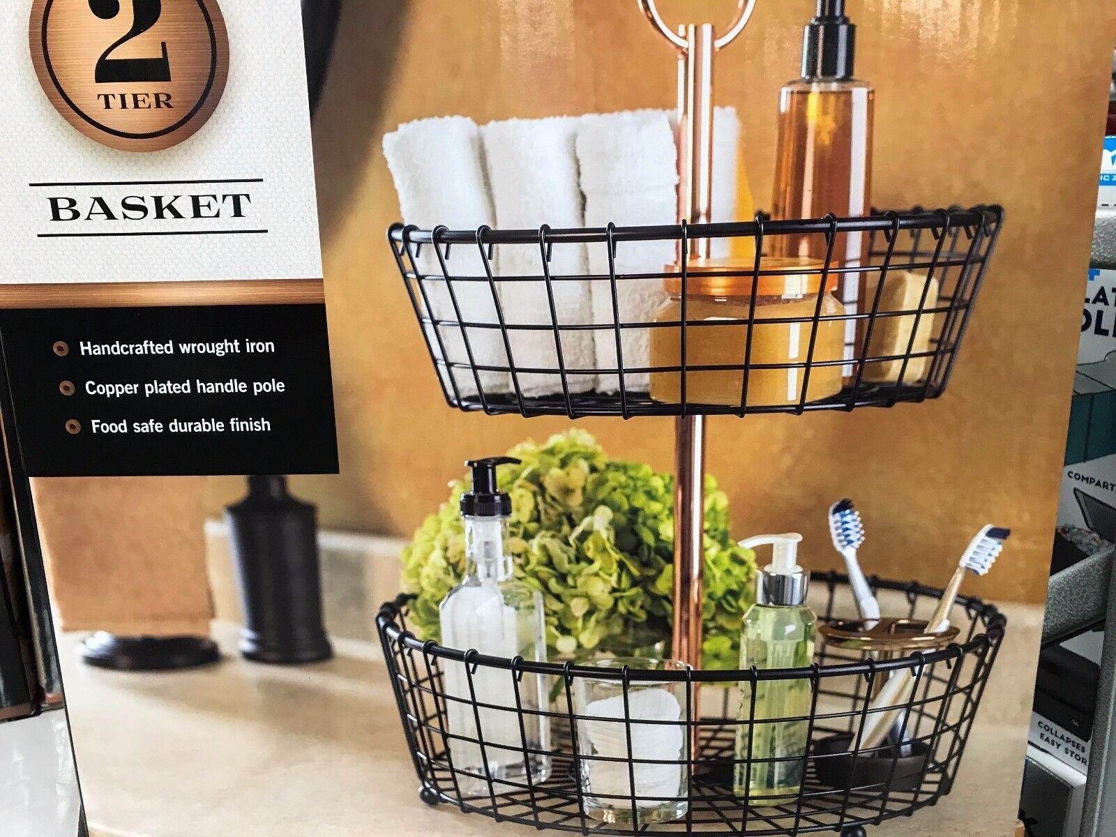 Two-cravater Wire Basket Stand Organizer Kitchen Bathroom Dorm Room Must-have