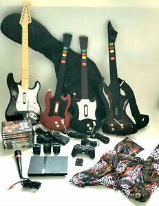 PS2 Slim Console Guitar Hero Singstar Bundle- 4 Guitars -Mic- 9 Games- 1 Dongle