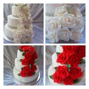 zuckerrosen zuckerblumen rosen ohne draht tortenaufleger tortendeko hochzeit ebay. Black Bedroom Furniture Sets. Home Design Ideas