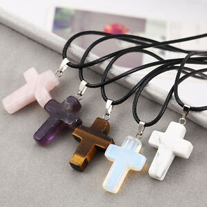 Crystal-Cross-Natural-Stone-Quartz-Pendant-Necklace-Healing-Point-Chakra-Leather