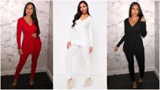 2Pcs Lounge Set Womens Boxy Ribbed Loungewear Tracksuit Sports Jogging Top Pant