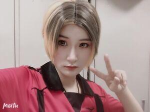 Haikyuu!! Kozume Kenma Short Black Mixed Blonde Cosplay ...