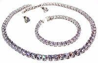 Silver Diamonique Round Cut 85.68ct Necklace Set