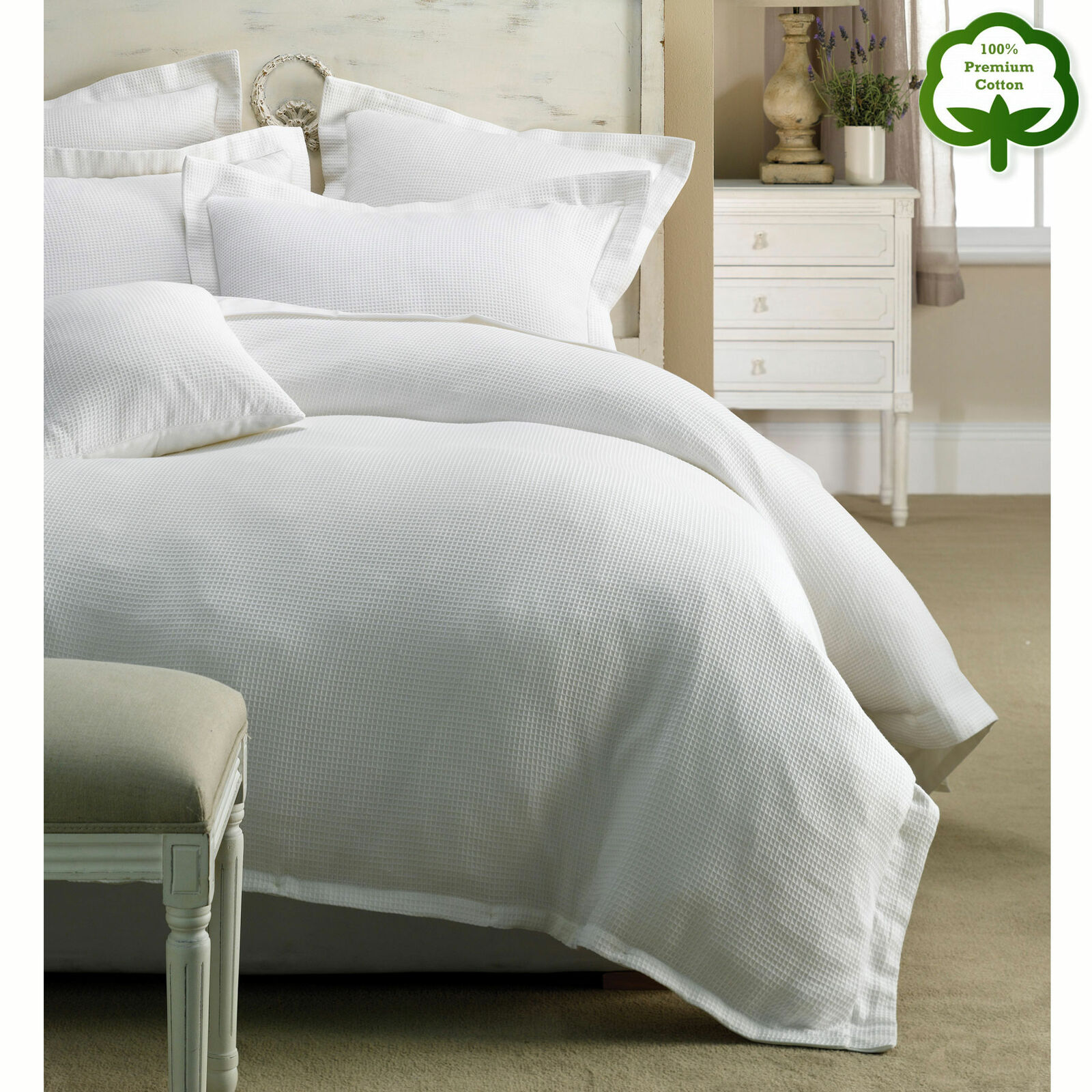 100% Cotton Paris Waffle Weiß on Weiß Quilt Cover Set - QUEEN KING Super King