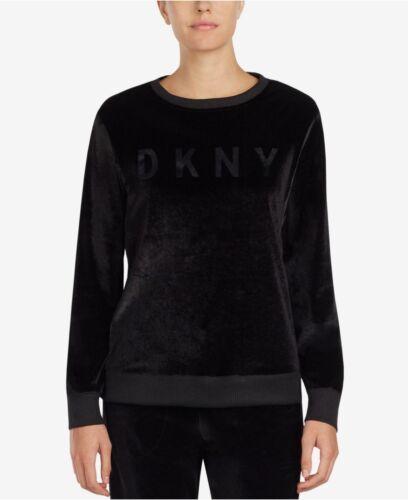 DKNY morbida in Velluto Nero Pigiama//Lounge Top nuovo con etichetta taglia M vendita al dettaglio £ 61 UK 12-14