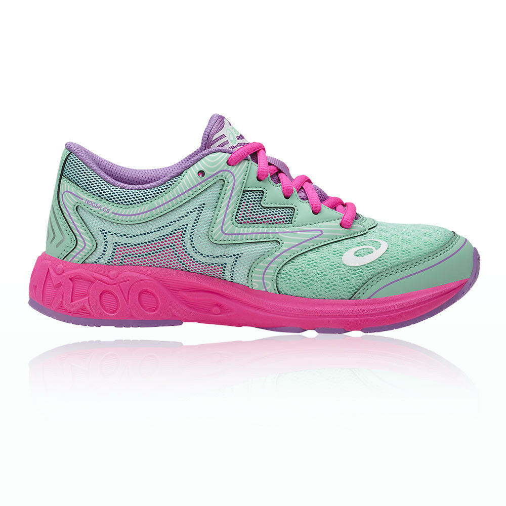 Asics Unisex Noosa Gs Junior Running Sports shoes Trainers Green Pink