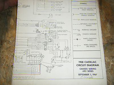 1968 CADILLAC SERIES 693 FACTORY WIRING DIAGRAM FOLD OUT ...