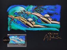 Original Grafik + Telefonkarte Andrzej Dudzinski Olympia 1992 Schwimmer signiert